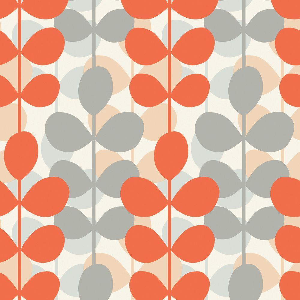 The Wallpaper Company 56 sq. ft. Orange and Grey Retro Modern Leaf Stripe Wallpaper