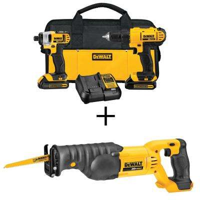 20-Volt MAX Lithium-Ion Cordless Drill/Driver Combo Kit (2-Tool) w/ (2) 20V MAX Batteries 1.3Ah, Free Reciprocating Saw