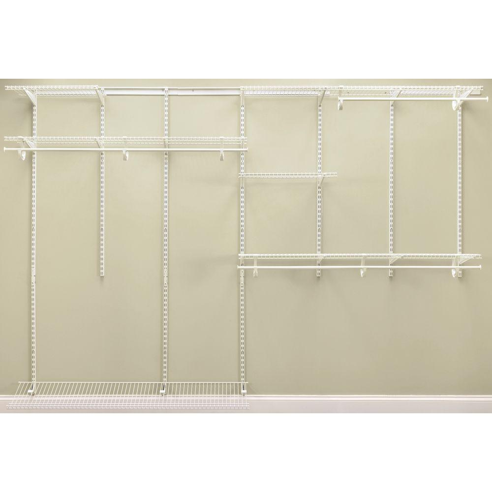 Superior ClosetMaid ShelfTrack 7 Ft.   10 Ft. 12 In. D X 120 In. W X 78 In. H White  Steel Closet System Organizer Kit 2891   The Home Depot