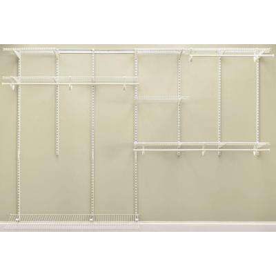 ShelfTrack 7 ft. - 10 ft. 12 in. D x 120 in. W x 78 in. H White Steel Closet System Organizer Kit