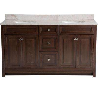 Brinkhill 61 in. W x 22 in. D Vanity in Cognac with Stone Effects Vanity Top in Dune with White Basin