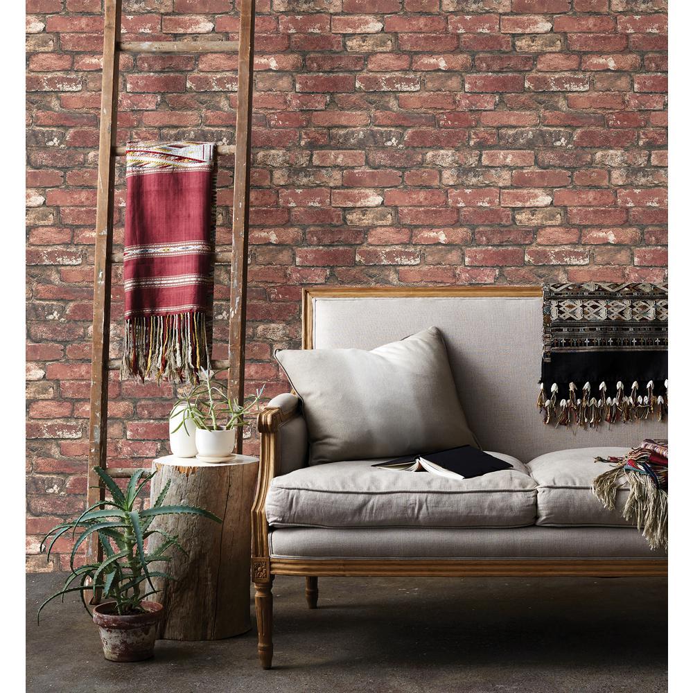Brewster-Loft Red Brick Wallpaper