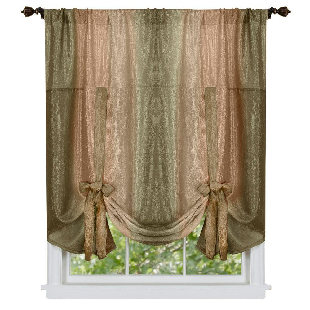 achim semi opaque ombre polyester 50 in w x 63 in l tie up shade curtain in earth omtu63er06. Black Bedroom Furniture Sets. Home Design Ideas