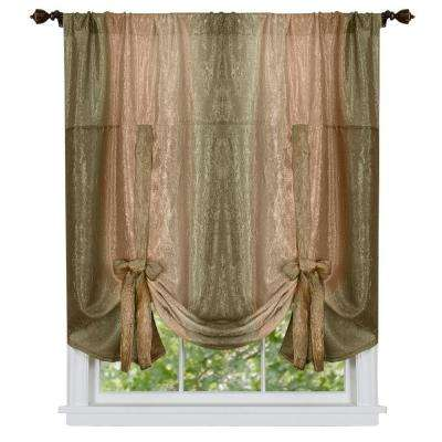 Semi-Opaque Ombre Polyester 50 in. W x 63 in. L Tie Up Shade Curtain in Earth
