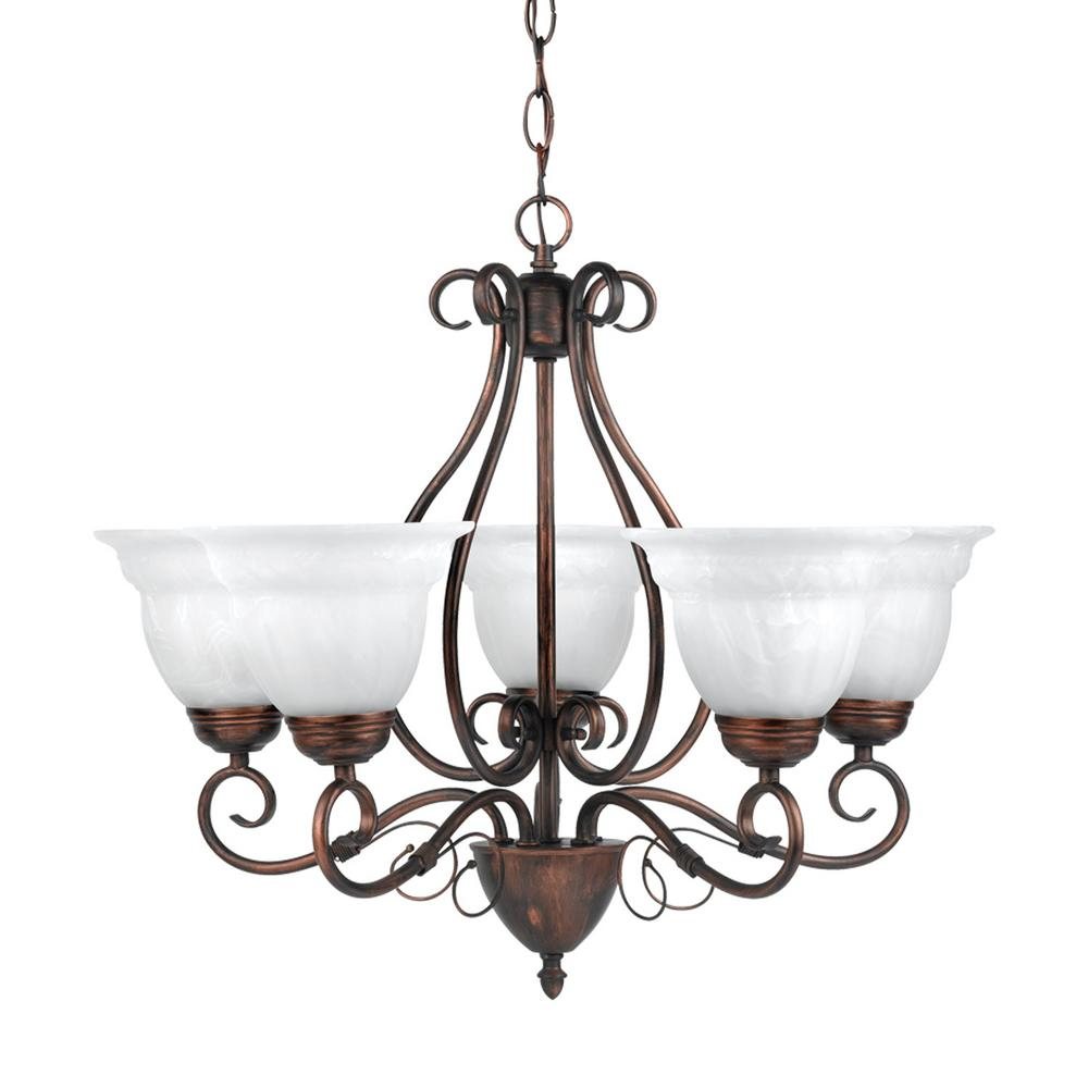 globe electric beatrice 5 light weathered bronze chandelier with alabaster glass shades 65573. Black Bedroom Furniture Sets. Home Design Ideas