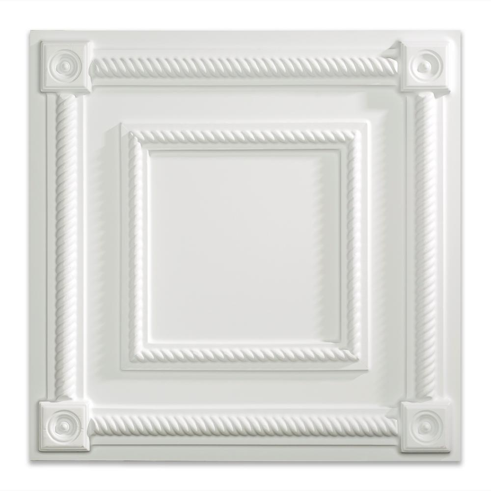 Fasade Coffer 2 Ft X 2 Ft Matte White Lay In Vinyl Ceiling Tile 20 Sq Ft Pl6101 The Home Depot