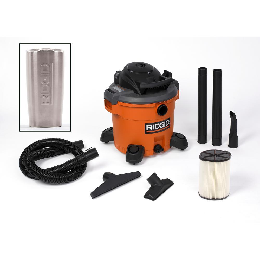 RIDGID 12 Gal. 5.0-Peak HP Wet/Dry Shop Vacuum with Tumbler