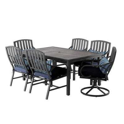Norman Brown 7-Piece Aluminum Outdoor Dining Set with Blue Cushions