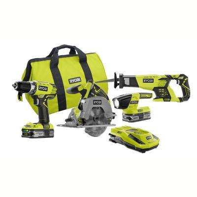 18-Volt ONE+ Lithium-Ion Cordless (4-Tool) Combo Kit with (2) 1.5Ah Lithium+ Batteries, Charger, Bag