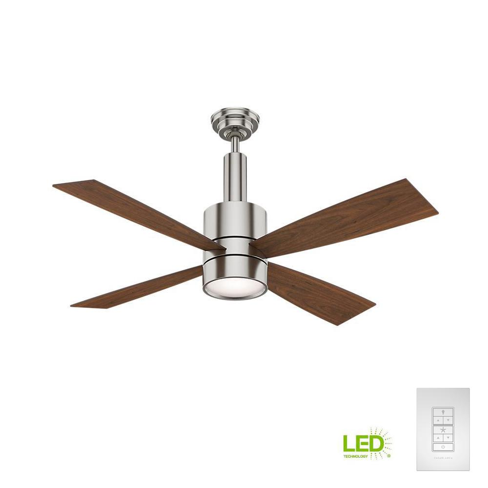 Bullet 54 in. Indoor Brushed Nickel Ceiling Fan with Light and