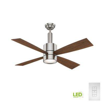 Bullet 54 in. Indoor Brushed Nickel Ceiling Fan with Light and Wall Control