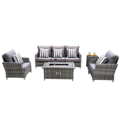 Grice 5-Piece Wicker Patio Conversation Set with Gas Fire Pit Table and Gray Cushions