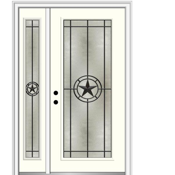 Mmi Door Elegant Star 53 In X 81 75 In Full Lite Decorative Glass Alabaster Painted Fiberglass Prehung Front Door Z03745717r The Home Depot