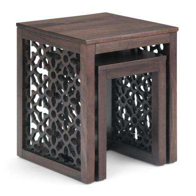 Polly 17 in. Wide Square Rustic 2-Piece Nesting Table in Cinnamon