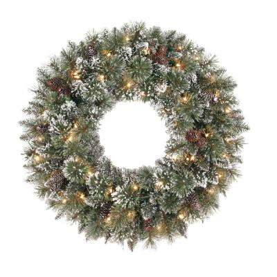 30 in. Sparkling Pine Artificial Wreath with 50 Clear Lights
