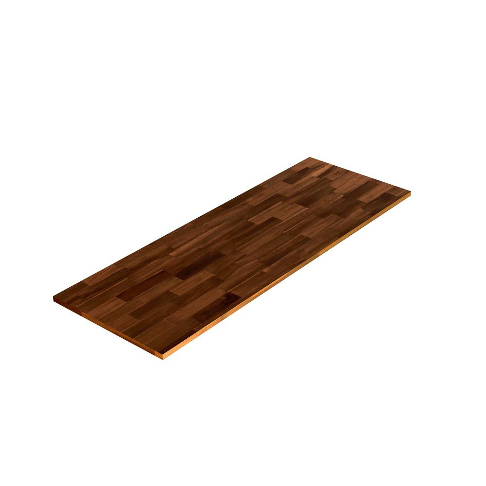 Interbuild 6 ft. L x 2 ft. 1.5 in. D x 1 in. T Butcher Block Countertop in Brown Stained Acacia
