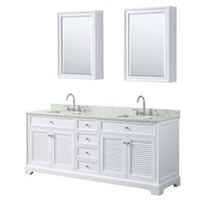 Tamara 80.5 in. Double Vanity in White with Marble Vanity Top in White Carrara with White Basins and Medicine Cabinets