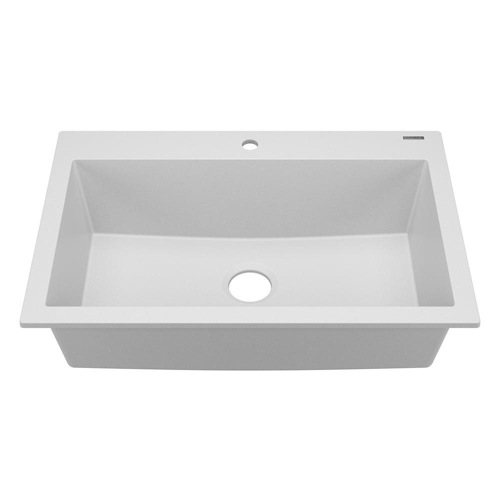 SINKOLOGY Camille Drop-In/Undermount Granite Composite 33 in. 1-Hole Single Bowl Kitchen Sink in Matte Canvas White
