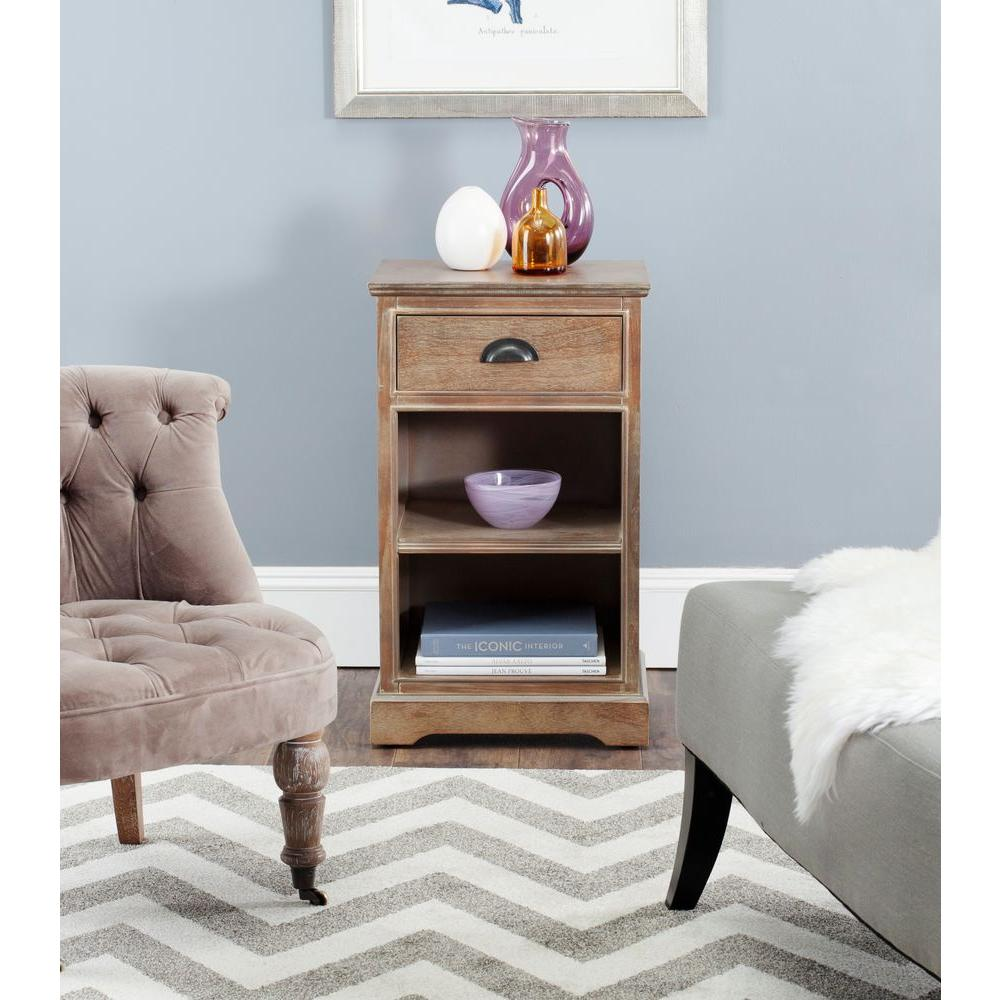 Safavieh Griffin Washed Natural Pine Storage End Table
