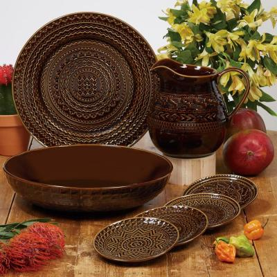 Aztec 6-Piece Patterned Multi-Colored Stoneware 5.75 in. Canape Plate Set (Service for 6)