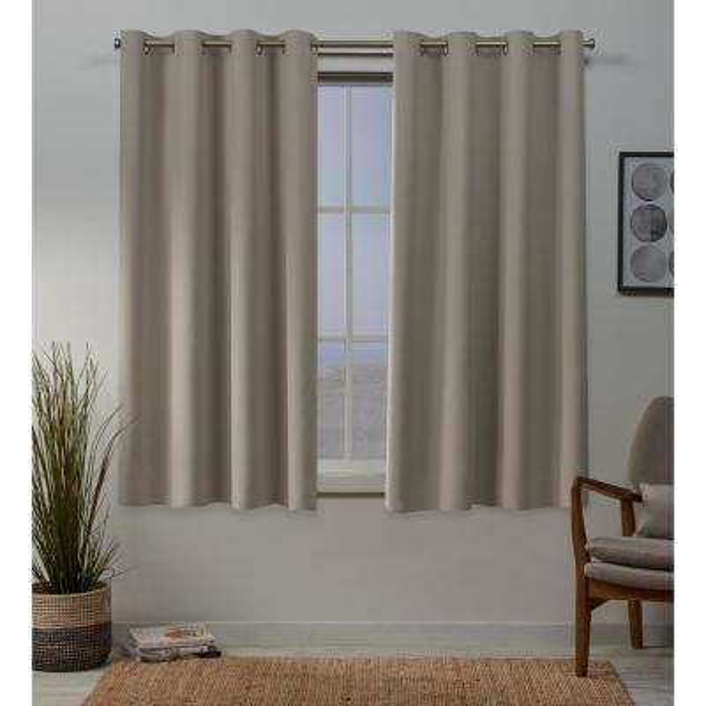 Sateen 52 in. W x 63 in. L Woven Blackout Grommet Top Curtain Panel in Stone (2 Panels)