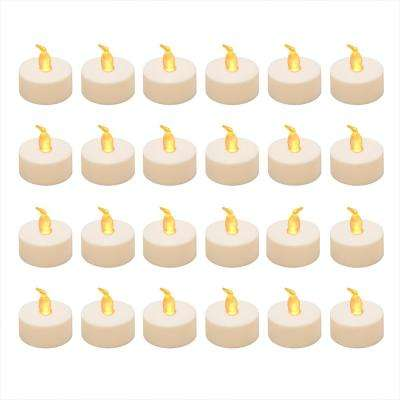 Battery Operated Amber LED Tea Lights - Value Pack (24-Count)