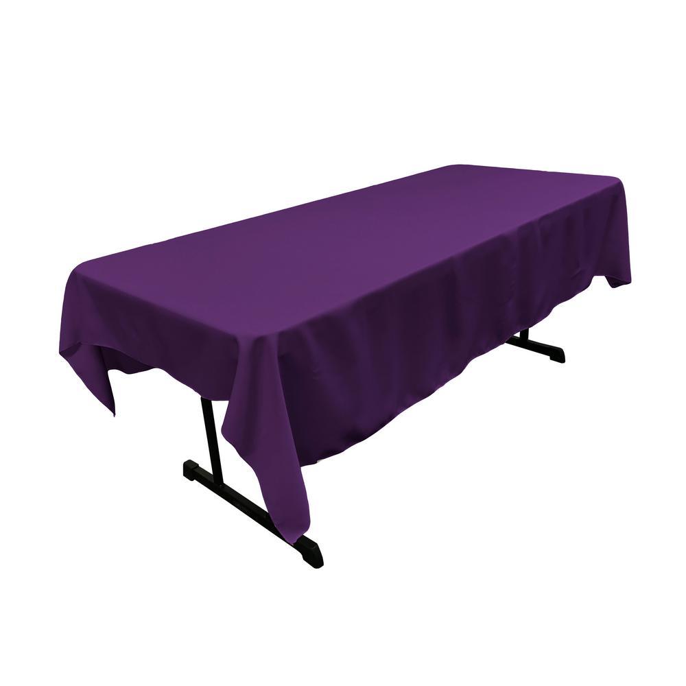 60 in. x 84 in. Purple Polyester Poplin Rectangular Tablecloth