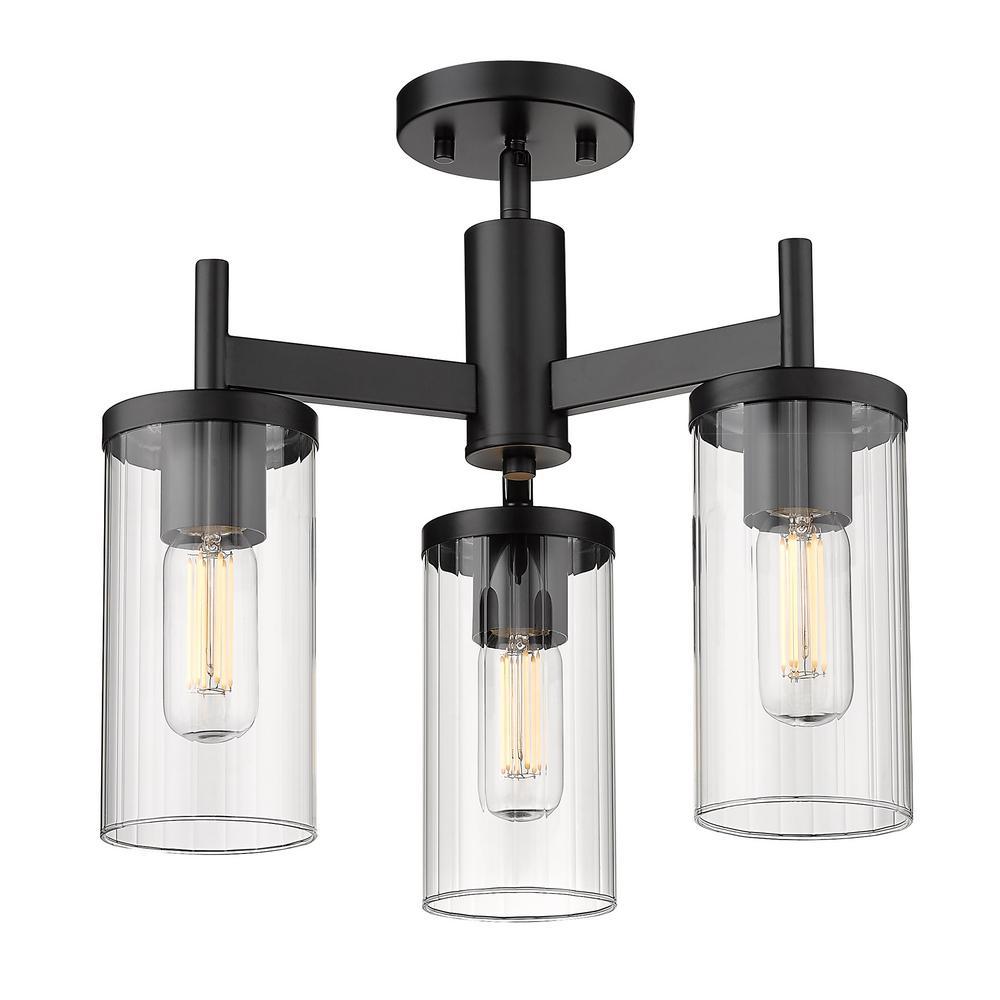 Golden Lighting Winslett 16.5 in. 3-Light Matte Black Semi-Flush Mount