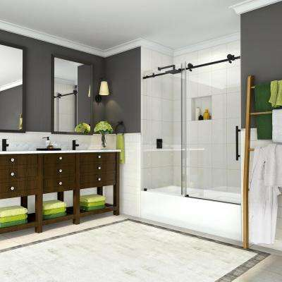 Coraline 56 - 60 in. x 60 in. Completely Frameless Sliding Tub Door in Oil Rubbed Bronze