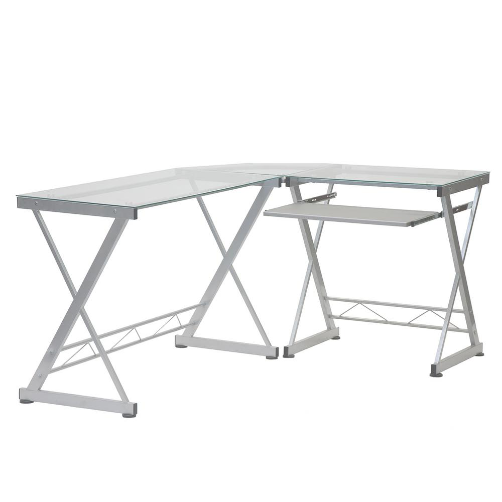 Techni Mobili L Shaped Clear Tempered Glass Top Computer Desk With Pull Out Keyboard Panel Rta 3802 Gls The Home Depot