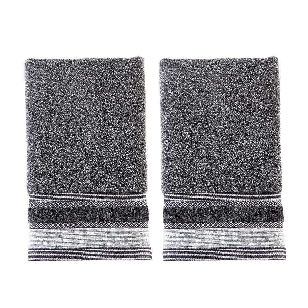 Geo Cotton Hand Towel Set In Slate (2-Piece)