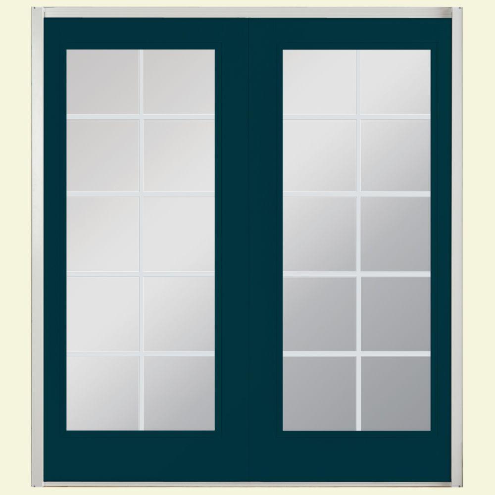 60 in. x 80 in. Night Tide Prehung Right-Hand Inswing 10 Lite Steel Patio Door with No Brickmold