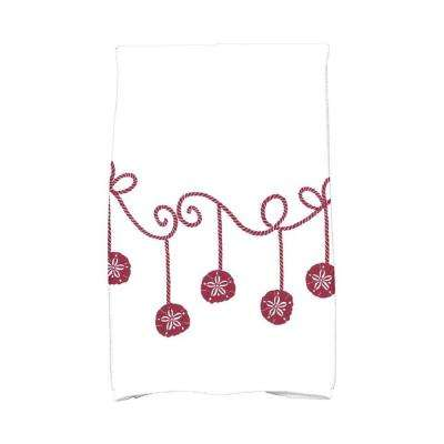 16 in. x 25 in. Cranberry Sanddollar Ornaments Holiday Geometric Print Kitchen Towel