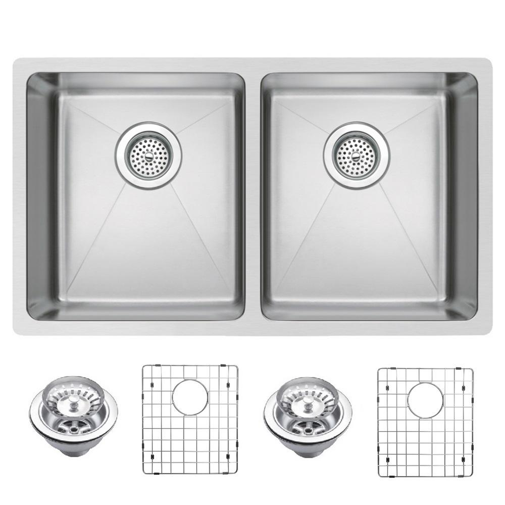 Water Creation Undermount Stainless Steel 31 in. Double Bowl Kitchen Sink with Strainer and Grid in Satin