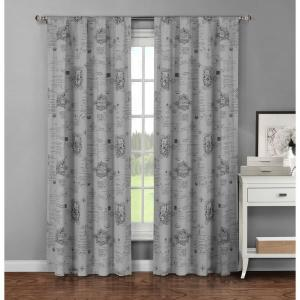 Window Elements Semi-Opaque Fleur De Lis Printed Cotton Extra Wide 96 inch L Rod Pocket Curtain Panel Pair, Dark Grey... by Window Elements