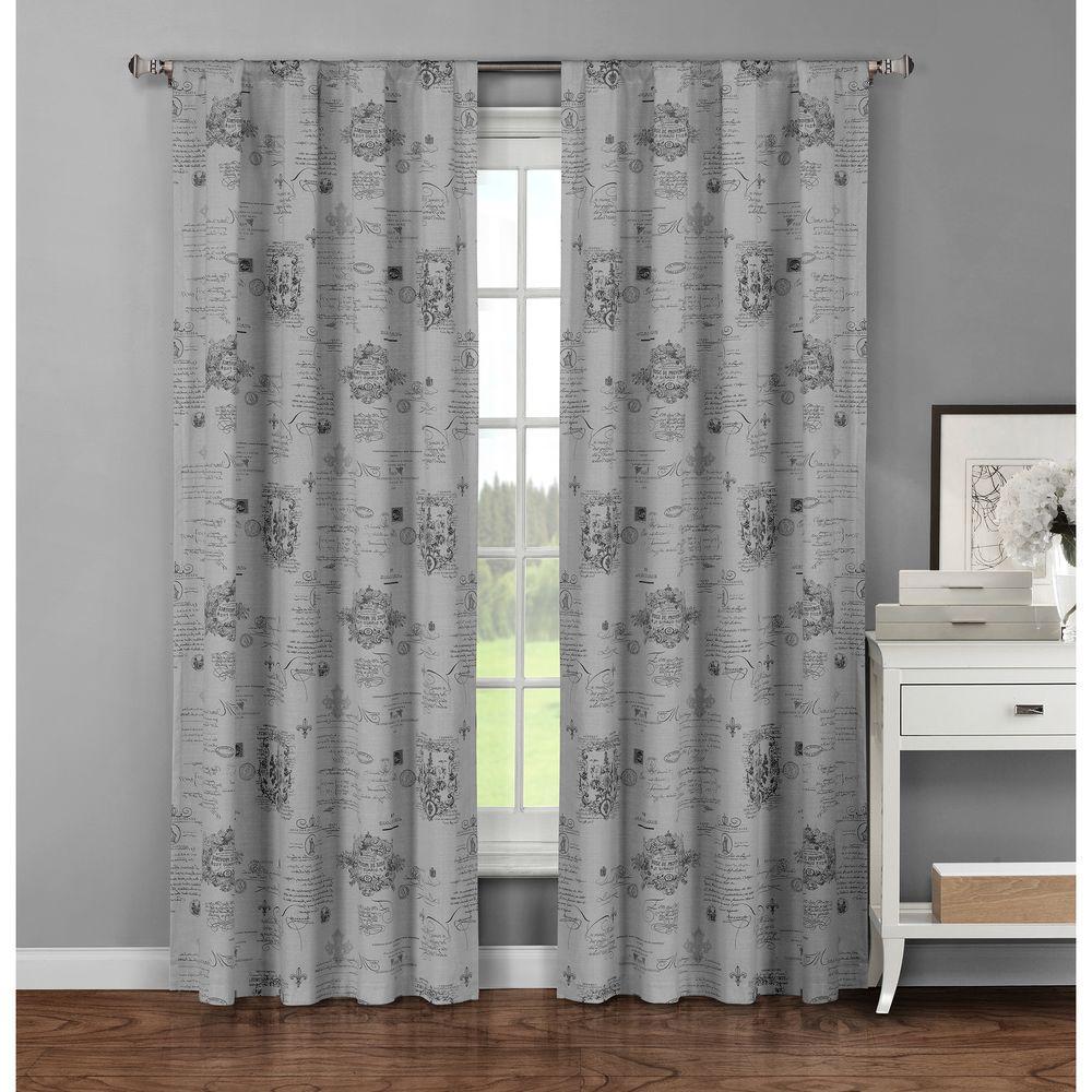 Window Elements Semi Opaque Fleur De Lis Printed Cotton Extra Wide 96 In L Rod Pocket Curtain Panel Pair Dark Grey Set Of 2