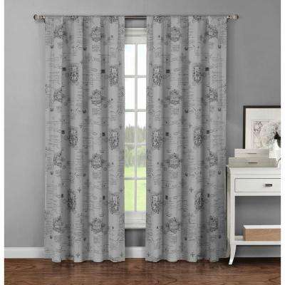 Semi-Opaque Fleur De Lis Printed Cotton Extra Wide 96 in. L Rod Pocket Curtain Panel Pair, Dark Grey (Set of 2)