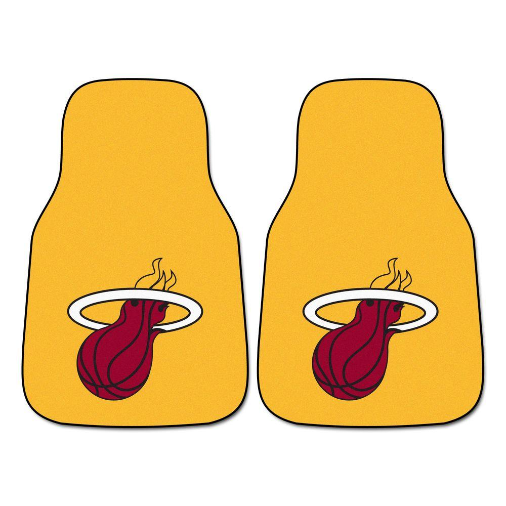 Miami Heat 18 in. x 27 in. 2-Piece Carpeted Car Mat