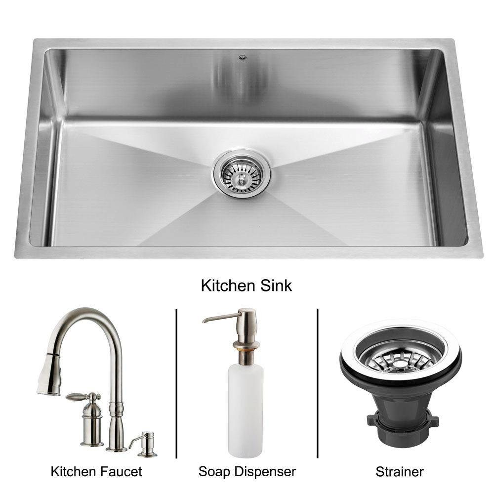 Vigo All-in-One Undermount 32x19x9.875 0-Hole Single Basin Kitchen Sink-DISCONTINUED