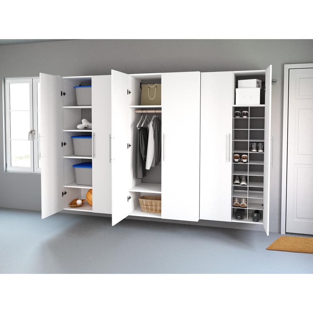 HangUps 102 in. W x 72 in. H x 20 in. D Storage Cabinet Set L White 3-Piece