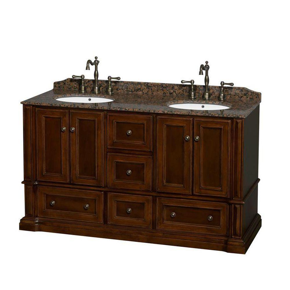 Wyndham Collection Rochester 61.25 in. Double Vanity in Cherry with Granite Vanity Top in Baltic Brown and Oval Sinks