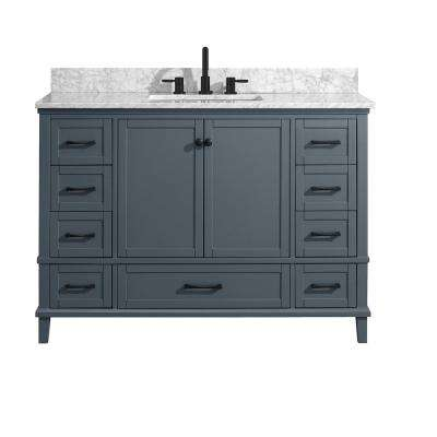 Merryfield 49 in. W x 22 in. D Bath Vanity in Dark Blue-Gray with Marble Vanity Top in Carrara White with White Basin