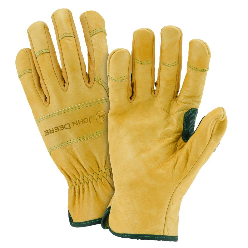 John Deere Grain Cowhide Large Driver Gloves