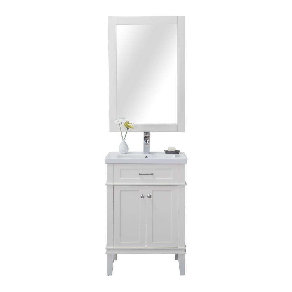 Seattle 24 in. W x 18.25 in. D x 34.75 in. H Vanity in White with Porcelain Vanity Top in White with White Basin