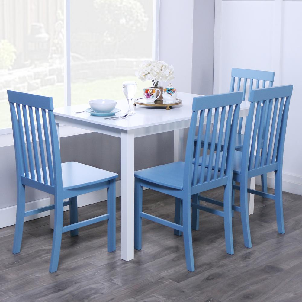 blue dining room set   Walker Edison Furniture Company Greyson 5-Piece White and ...
