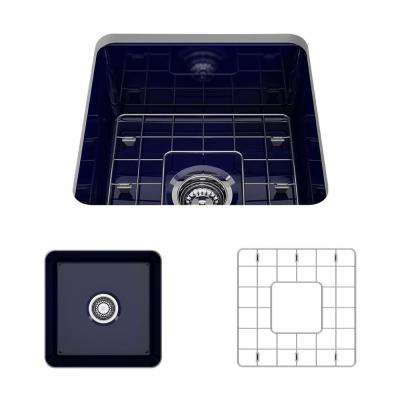 Sotto Undermount Fireclay 18 in. Single Bowl Kitchen Sink with Bottom Grid and Strainer in Sapphire Blue