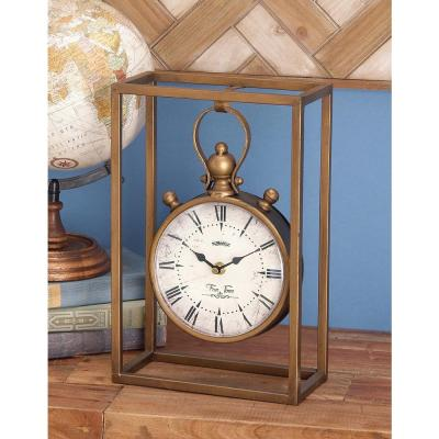 13 in. x 9 in. Round Iron Table Clock with Rectangular Iron Frame