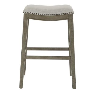 Saddle Stool 30 in. Grey Fabric and Antique Grey Base (2-Pack)