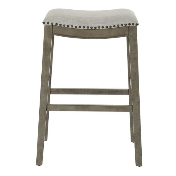 OSP Home Furnishings Saddle Stool 30 in. Grey Fabric and Antique