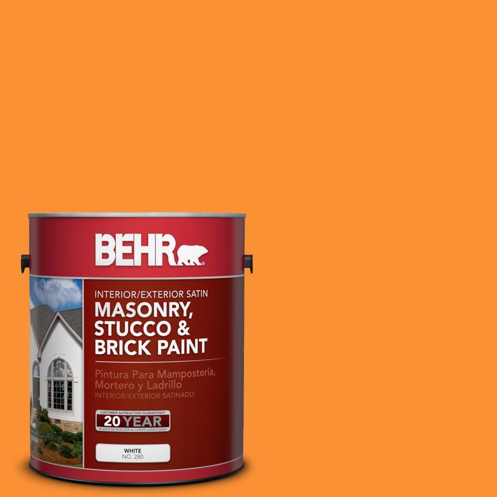 P240 7 Joyful Orange Satin Interior Exterior Masonry Stucco And Brick Paint